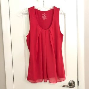 New York & Co Pink Ruffled Work Tank for Layering